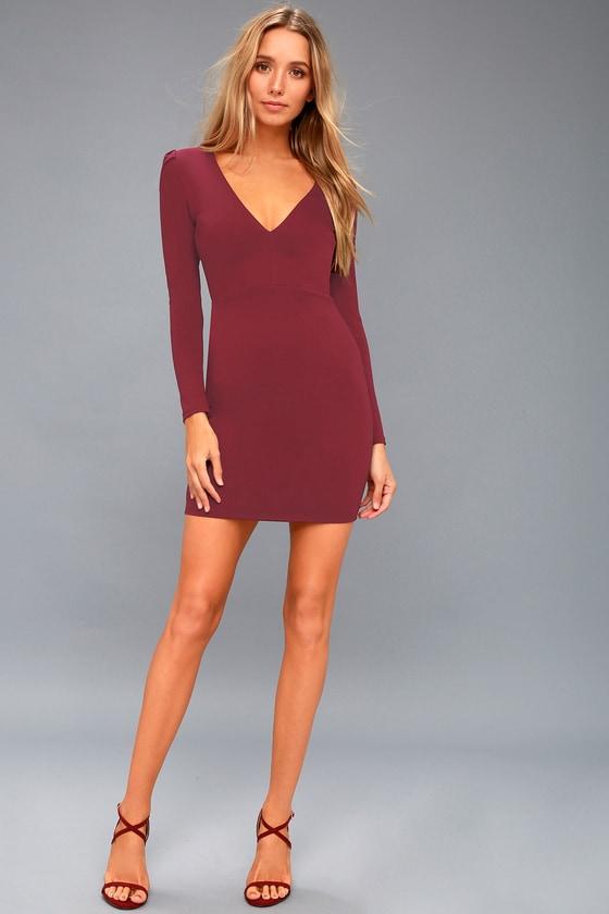 d96cd69538c0 Haute in Here Burgundy Long Sleeve Bodycon Dress