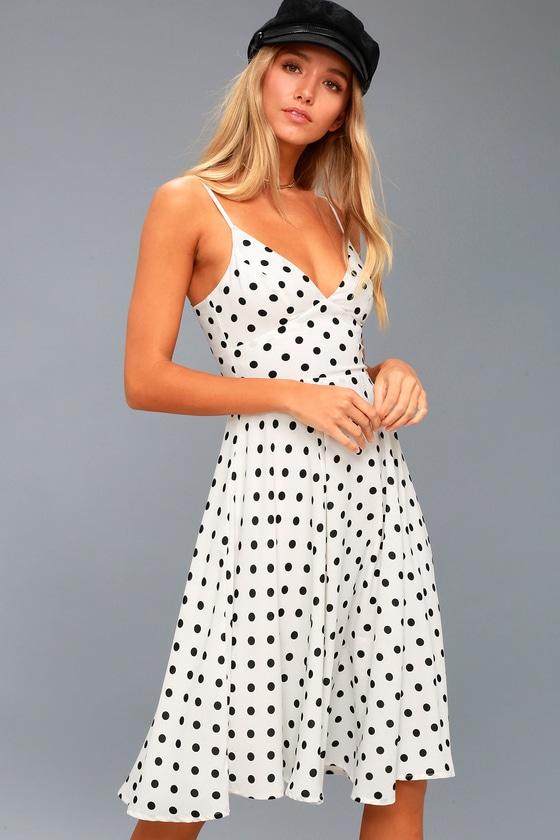 91060582bcdd Chic White Dress - Midi Dress - Black Polka Dot Dress
