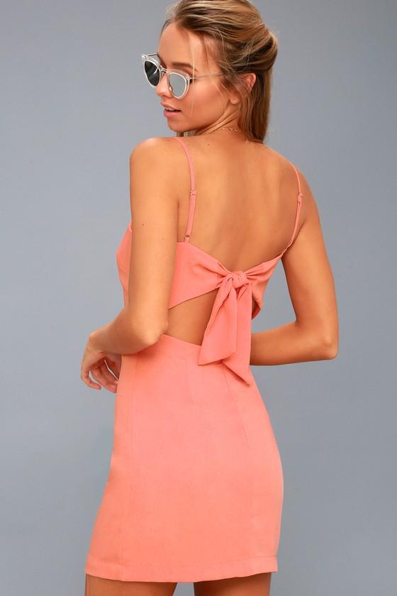 026e68bd5 Cute Coral Pink Dress - Tie-Back Dress - Sheath Dress