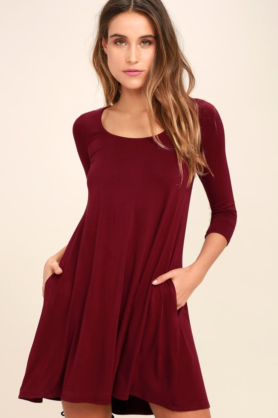 7f68011909e3 Cute Wine Red Dress - Swing Dress - Long Sleeve Dress