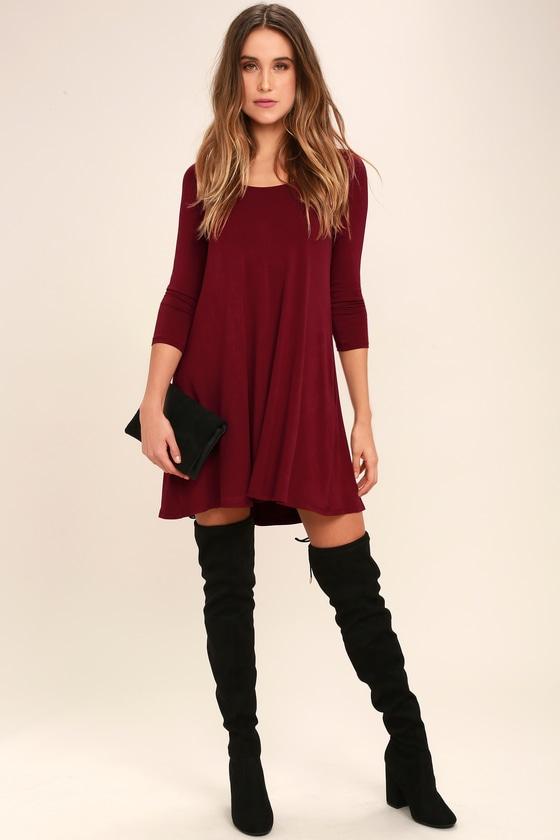 8f871c919814 Cute Wine Red Dress - Swing Dress - Long Sleeve Dress