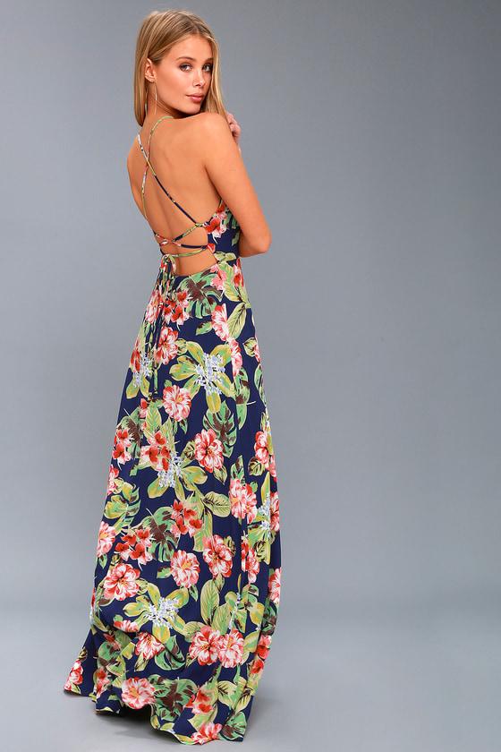 5edd079ae2bf Cute Navy Blue Maxi Dress - Tropical Floral Print Dress