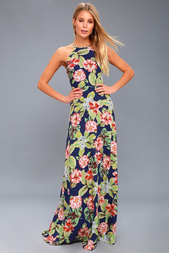 daee24cd3ae Cute Navy Blue Maxi Dress - Tropical Floral Print Dress