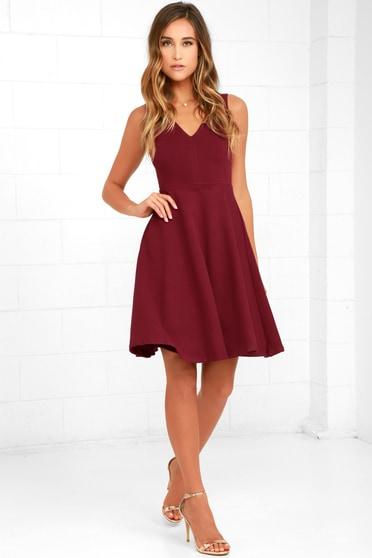 2ce6583f38b Wine Red Dress - Midi Dress - Skater Dress - Sleeveless Dress - $59.00