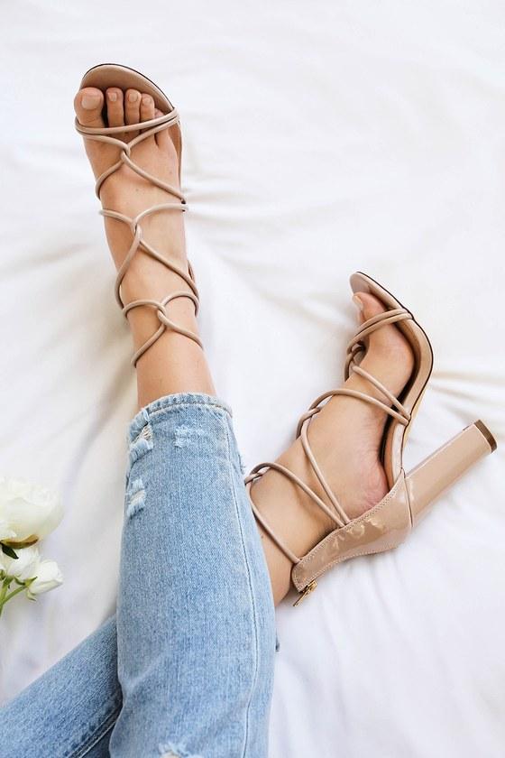 9e2db035b0db Sexy Nude Heels - Patent Heels - Dress Sandals - Caged Heels