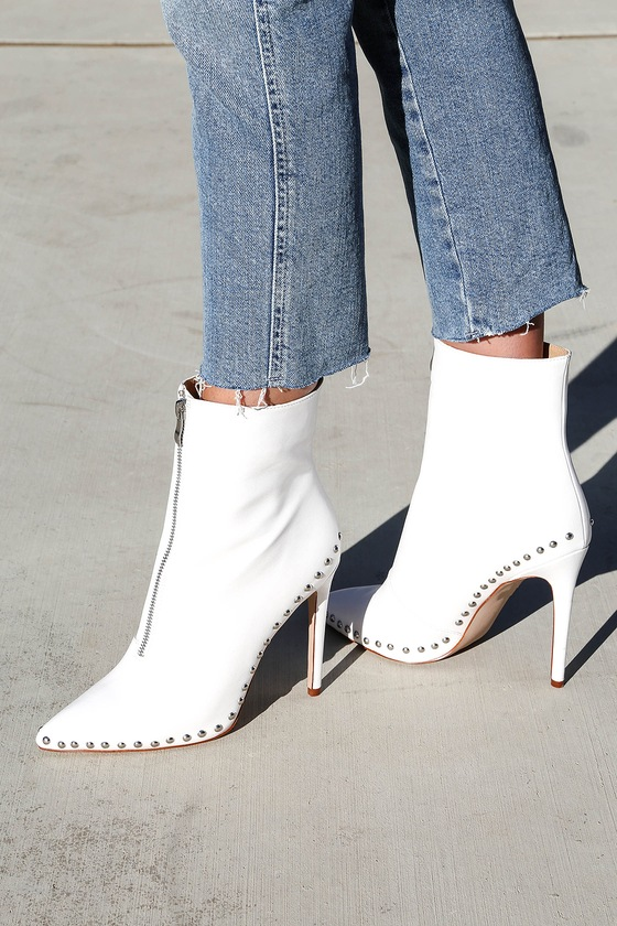 0d7f861853fd Trendy White Booties - Studded Booties - High Heel Booties