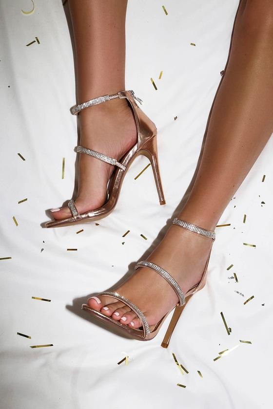 b7e353e44a6ed Rose Gold Vegan Suede Heels - Rhinestone Ankle Strap Heels