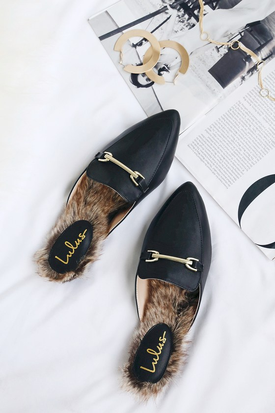 f53493a2a16 Chic Black Loafer Slides -Faux Fur Loafers - Slip-On Loafers