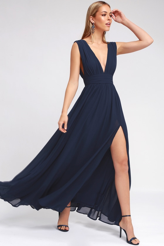 Dance All Evening Navy Blue Lace Maxi Dress