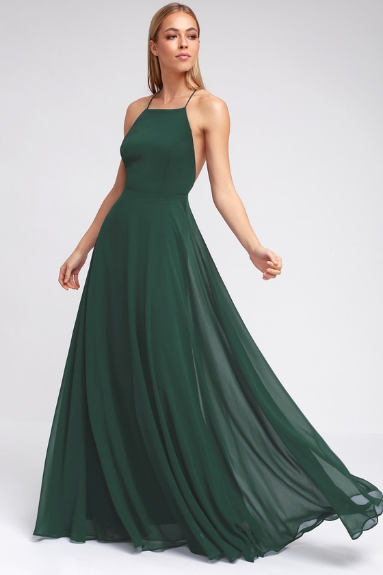 Beautiful dark green dress maxi dress backless maxi dress for What kind of shoes to wear with wedding dress
