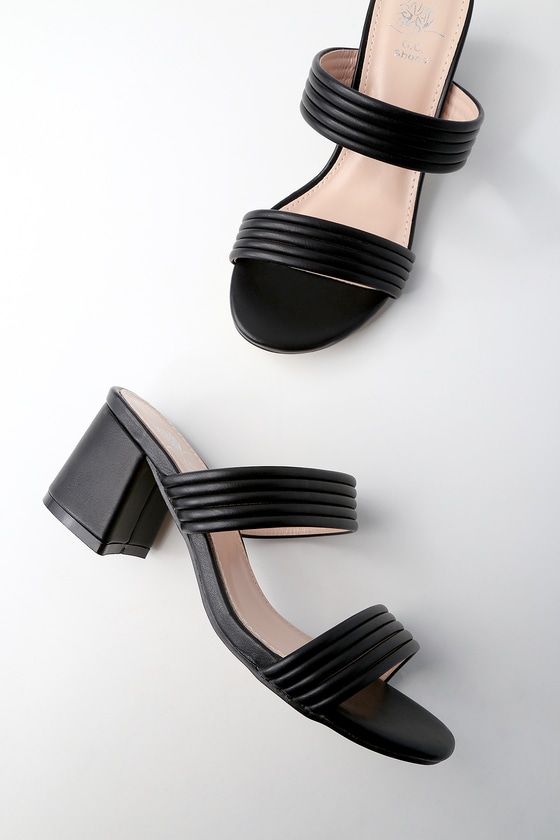 1366bfca4c206 Chic Black Mules - Vegan Leather Mules - Strappy Mules