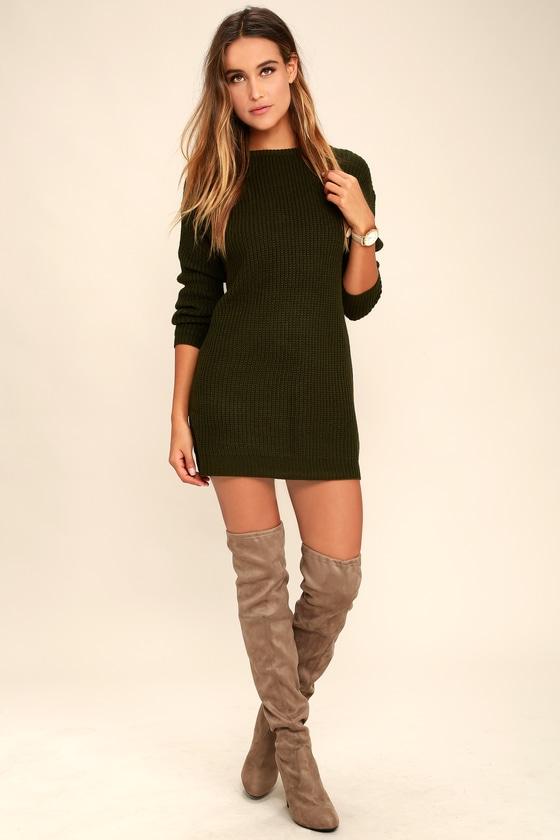 809de07d8887 Sexy Olive Green Dress - Sweater Dress - Backless Dress -  58.00