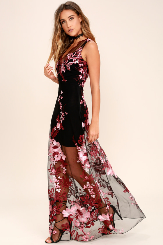 8ef36aa79 Lovely Embroidered Maxi Dress - Wine Red and Black Dress - Sheer ...