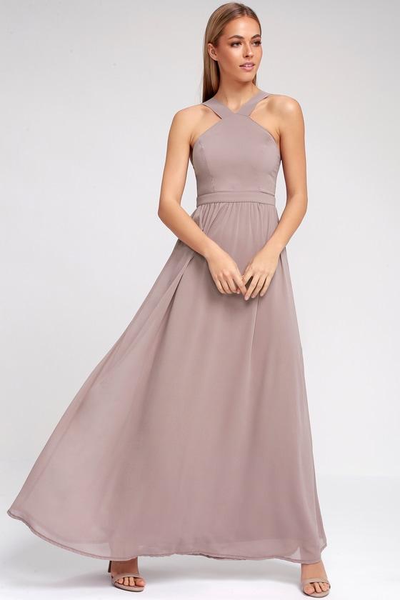 33512987cedeb Beautiful Taupe Dress - Maxi Dress - Homecoming Dress