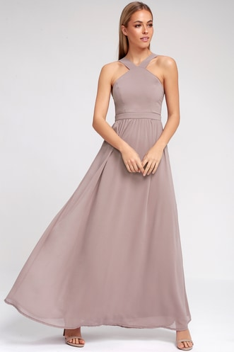 7e6b7f4894b Air of Romance Taupe Maxi Dress