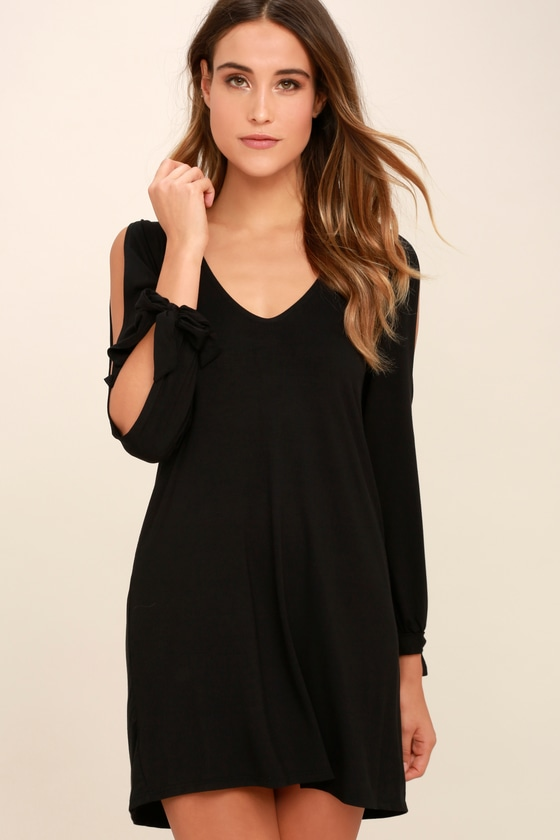 Cute Black Dress Long Sleeve Dress Cold Shoulder Dress