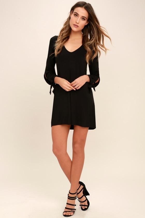 8b88835a5b8f Cute Black Dress - Long Sleeve Dress - Cold Shoulder Dress
