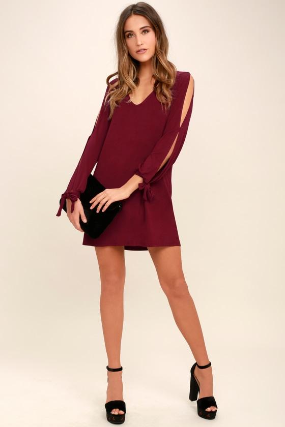 531639b0903ae Cute Wine Red Dress - Shift Dress - Cold Shoulder Dress - $36.00
