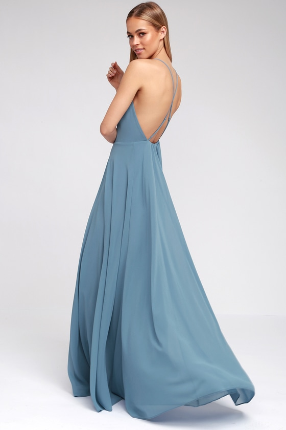 d6a037cb2dc Beautiful Slate Blue Dress - Maxi Dress -Backless Maxi Dress