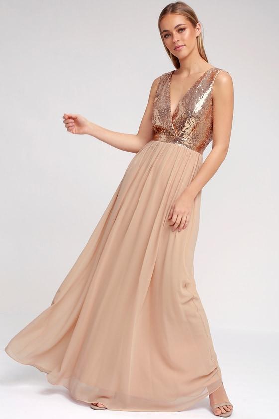 Vintage Cocktail Dresses, Party Dresses, Prom Dresses Elegant Encounter Rose Gold Sequin Maxi Dress - Lulus $100.00 AT vintagedancer.com