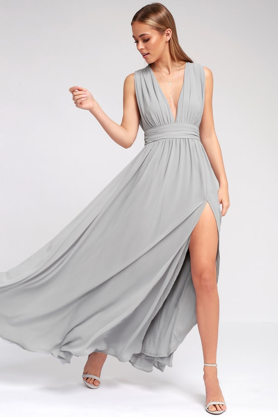 Heavenly Hues Light Grey Maxi Dress