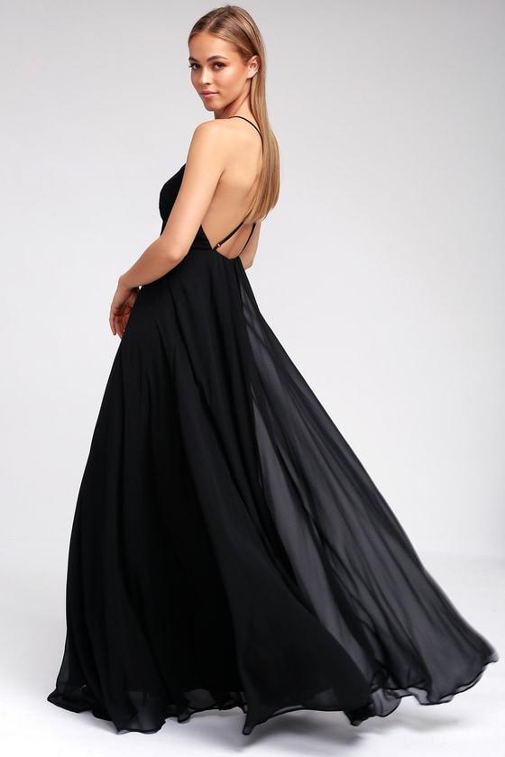 b00fac42c3b Beautiful Black Dress - Maxi Dress - Backless Maxi Dress