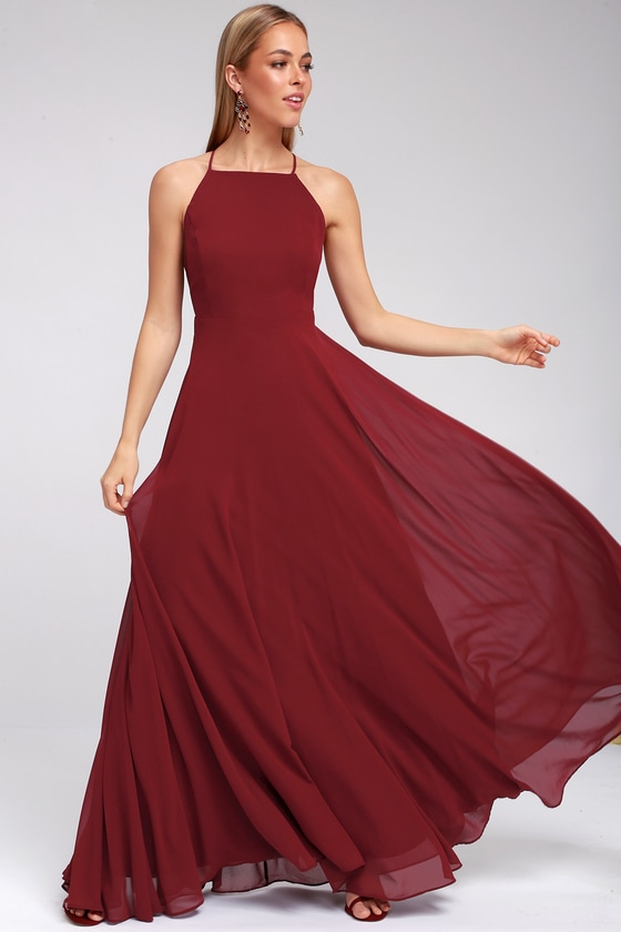 d6b7a0e4213d Beautiful Wine Red Dress - Maxi Dress - Backless Maxi Dress