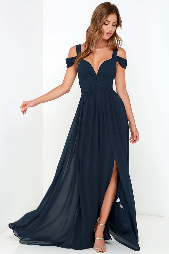 Navy Blue Maxi Dress - Cocktail Dress - Bridesmaid Dress