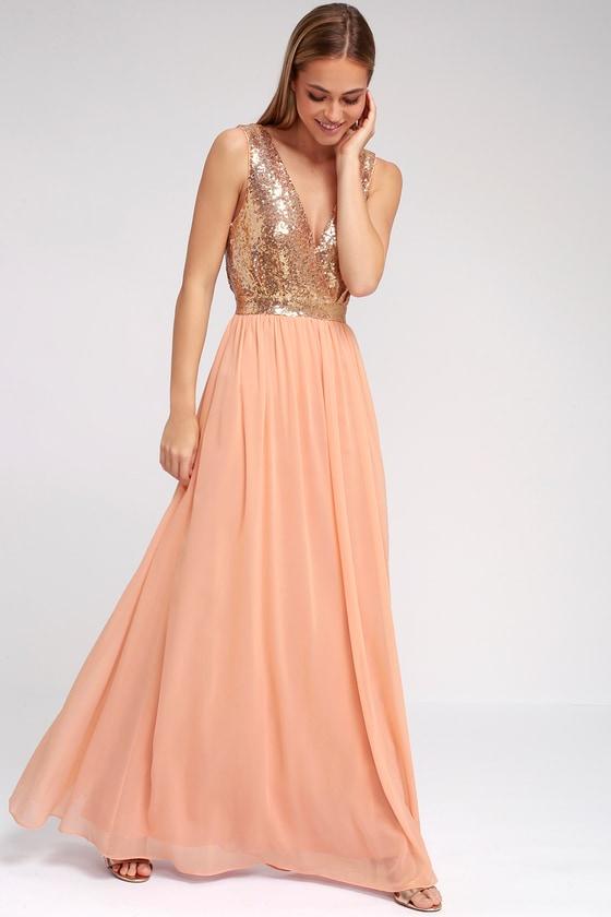 Elegant Encounter Champagne Sequin Maxi Dress