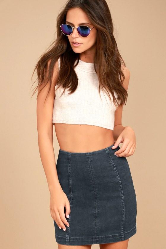 Free People Modern Femme Dark Wash Denim Mini Skirt 2
