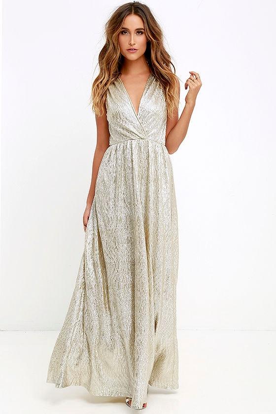 9085e70aa1 Gold Dress - Maxi Dress - Metallic Dress - Silver Dress