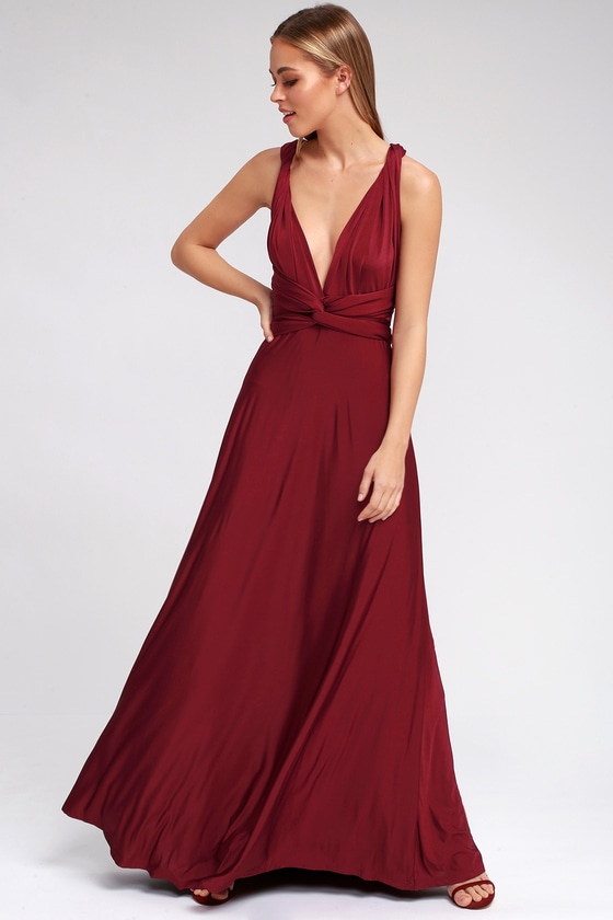 Pretty Maxi Dress Convertible Dress Burgundy Dress
