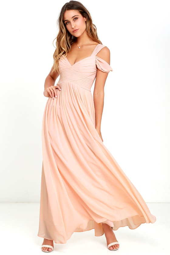 Lovely blush pink dress maxi dress bridesmaid dress for Shoes for maxi dress wedding
