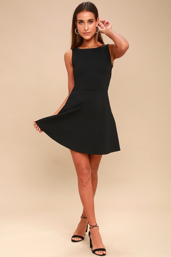 Sexy Black Skater Dress - Backless Skater Dress - LBD ecccc107b