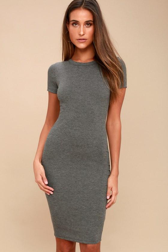 ad4f619655 Cute Charcoal Grey Dress - Bodycon Dress - Midi Dress