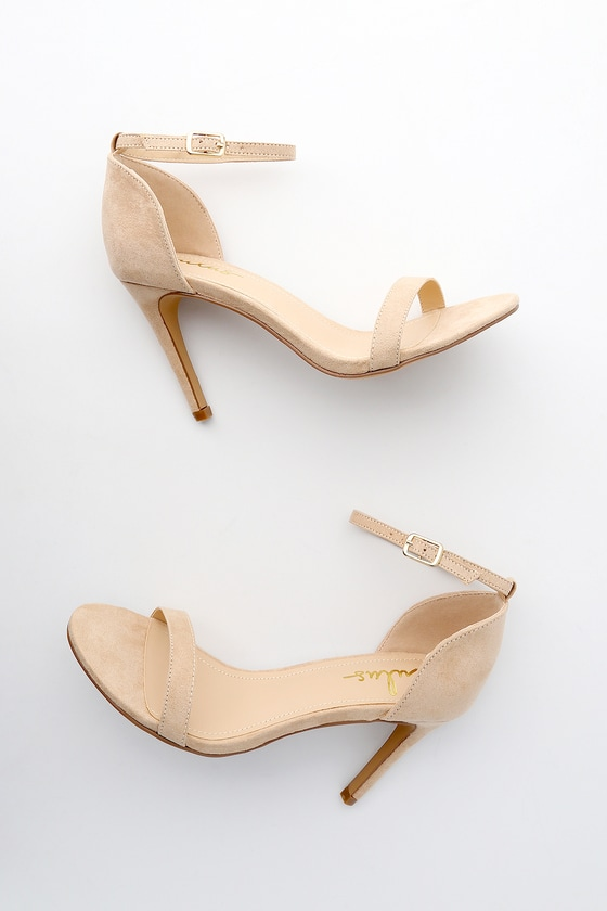 Ana Natural Suede Ankle Strap Heels by Lulus