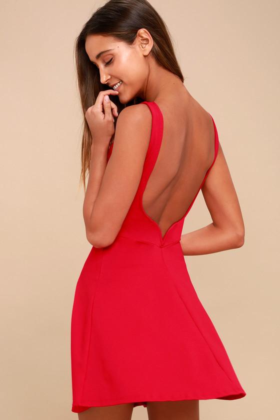 213fef2d5a6 Sexy Red Dress - Red Skater Dress - Backless Skater Dress