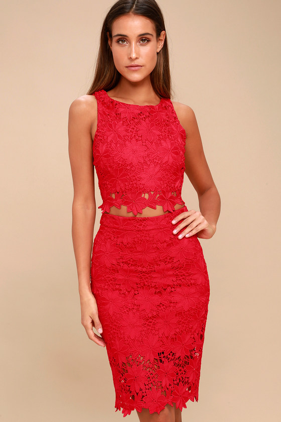 efdc23c6b9 Chic Red Two-Piece Dress - Lace Two-Piece Dress - Midi Dress