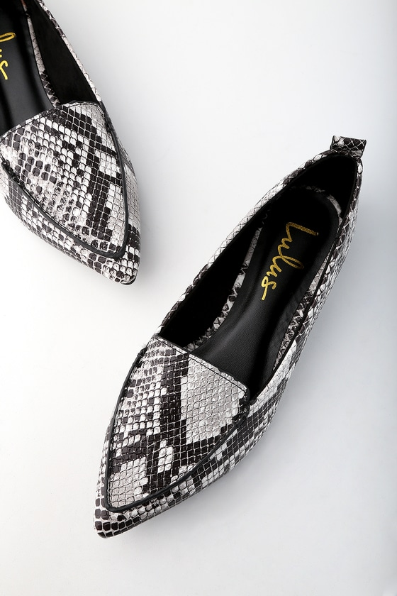 Emmy Natural Snake Pointed Loafers - Animal Print Shoes