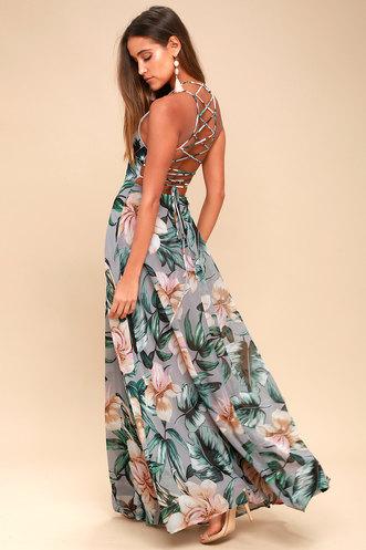 ff28dea9947a Love Abloom Grey Floral Print Lace-Up Maxi Dress