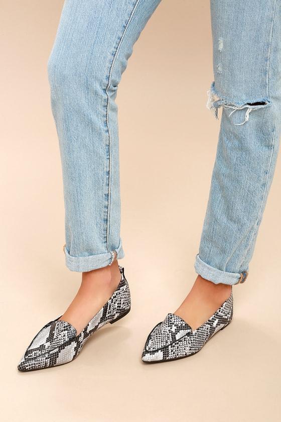 Snake Print Loafers - Loafer Flats