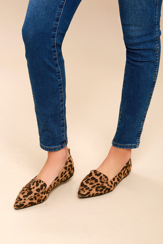 Cute Leopard Loafers - Vegan Suede Loafers - Pointed Loafers 26d0274ea