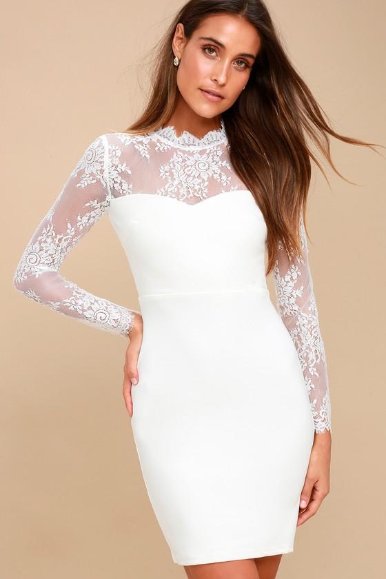 Romantic White Bodycon Dress - White Lace Bodycon Dress b2f83701a78