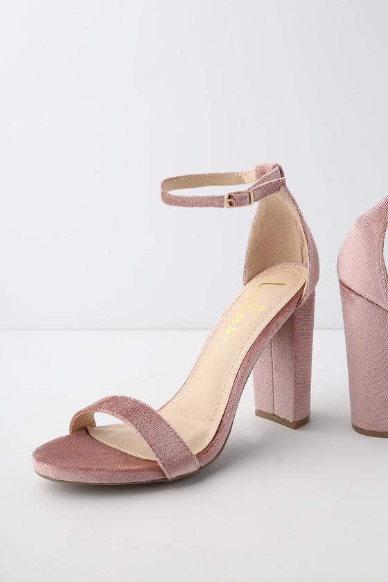e643d979881 Sexy Mauve Heels - Velvet Heels - Ankle Strap Heels