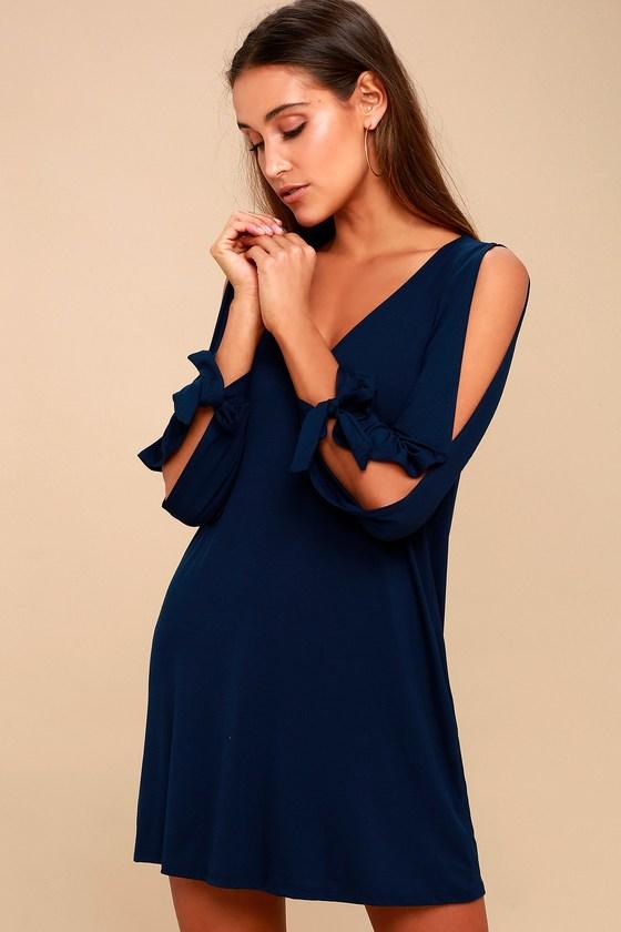 88336e4b347 Cute Navy Blue Dress - Shift Dress - Cold Shoulder Dress