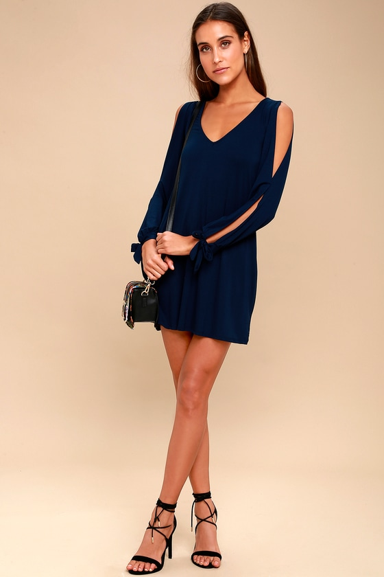 f9517d932949 Cute Navy Blue Dress - Shift Dress - Cold Shoulder Dress