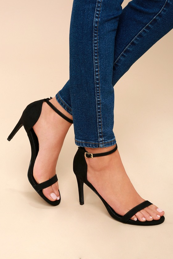 70808a41ffe Chic Black Heels - Ankle Strap Heels - Vegan Suede Heels