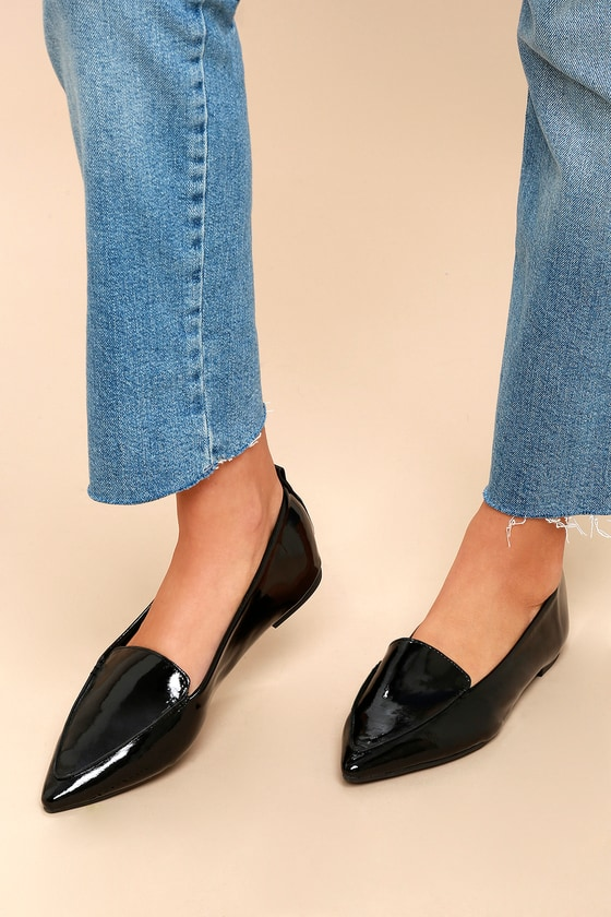 b1621ce6f85 Cute Black Loafers - Loafer Flats - Pointed Patent Loafers