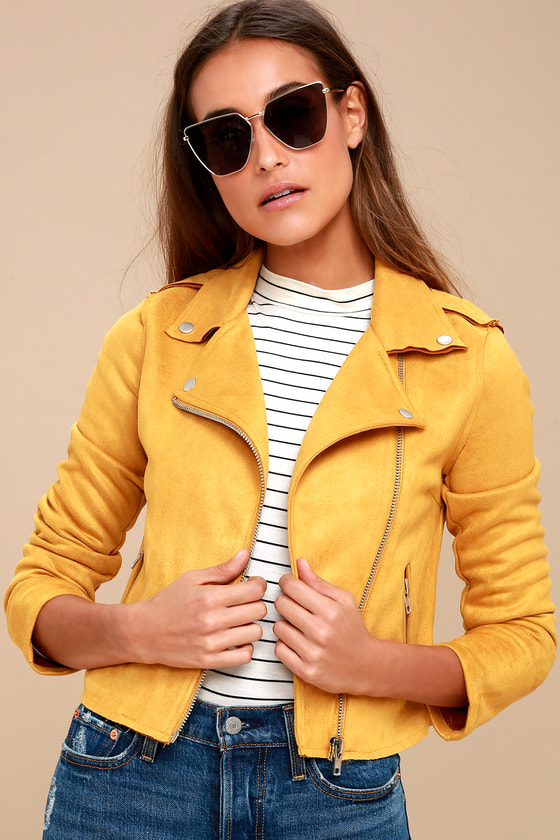 Vintage Style Coats, Jackets, Faux Fur, Tweed Must Love Mustard Yellow Suede Moto Jacket - Lulus $70.00 AT vintagedancer.com
