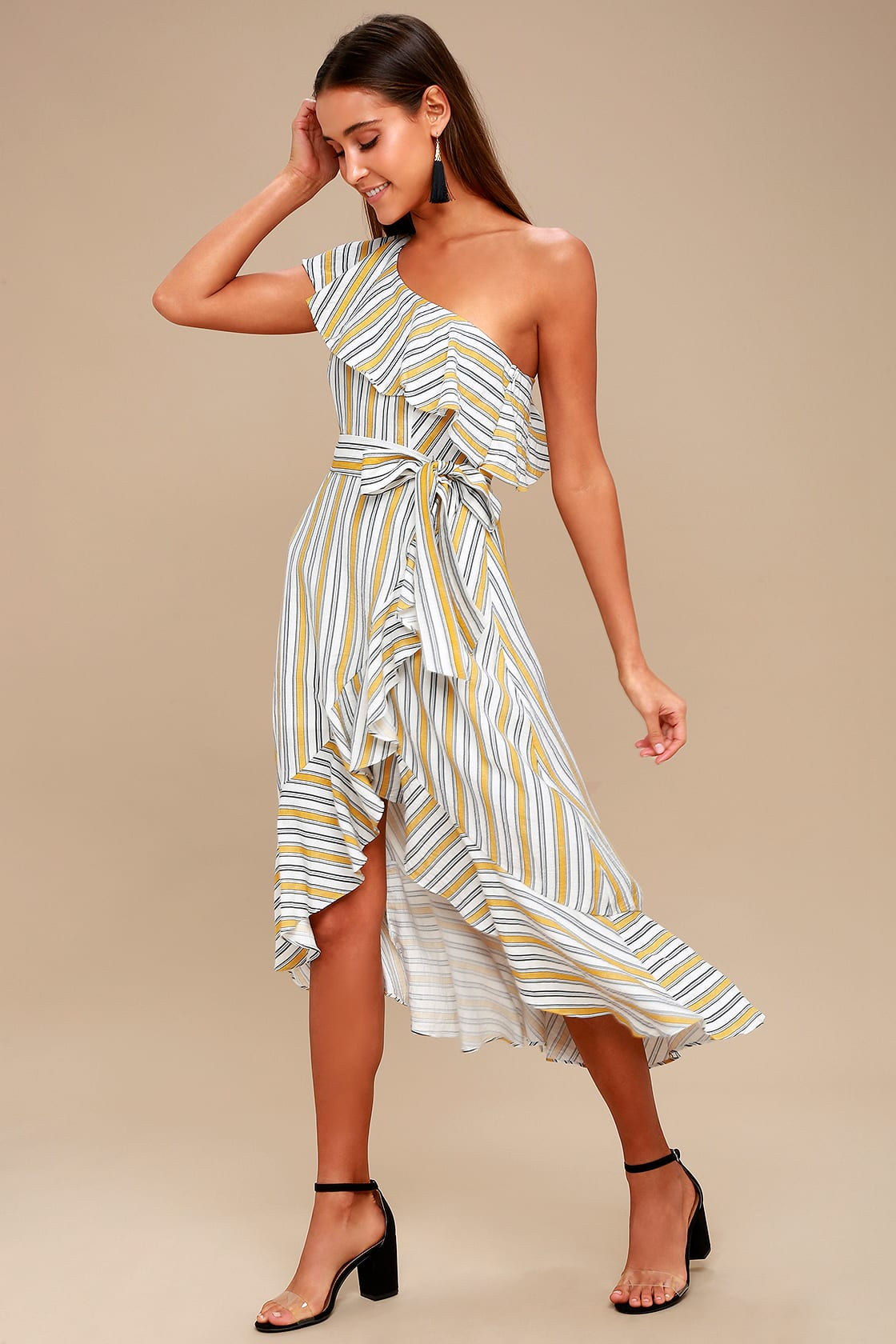 High Tide Yellow Striped One Shoulder Midi Dress